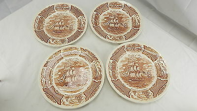 """Lot of 4 Alfred Meakin """"Fair Winds"""" Brown SHIP Transferware Dinner Plates + ONE"""