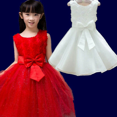 Flower Girl Princess Bow Dress Toddler Wedding Party Pageant Tulle Formal Dress