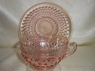'MISS AMERICA' GLASS CUP AND SAUCER - ANCHOR HOCKING - DEPRESSION ERA