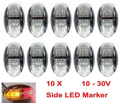 10x 12V 24V DC 4 LED CLEARANCE LIGHTS SIDE MARKER LED TRAILER TRUCK AMBER RED