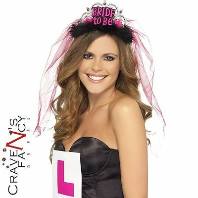 Bride to Be Tiara Black & Hot Pink Veil Hen Do Party Ladies Night Fancy Dress