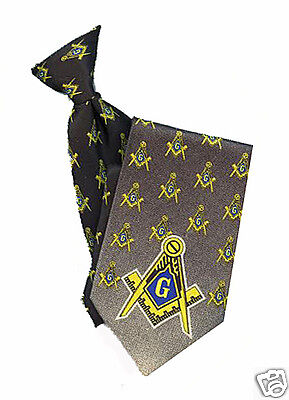 MASONIC CLIP ON TIE - SHADES of GRAYS on POLY FABRIC - with MASONIC LOGO