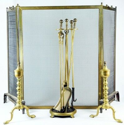8 PC 1930 Jewel Brass Fireplace Set Tools Screen Andirons Arts & Crafts Stand