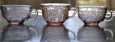 Pink Cloverleaf and Sharon Cabbage Rose Depression Glass Cups (3 pcs.)