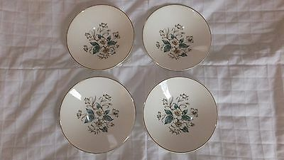 VINTAG KNOWLES USA 4 SMALL BOWLS WHITE DOGWOOD PATTERN WITH GOLD EDGE TRIM