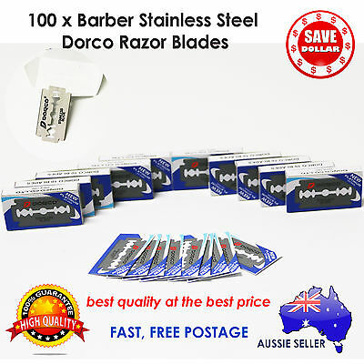 100pc Dorco Double Edge Razor Blade Barber Safety Shaving Knife Stainless Steel