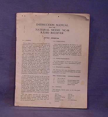 Instruction Manual for the National Model NC-88 Radio Receiver Vintage ORIGINAL