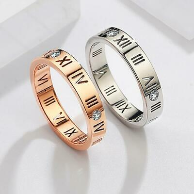 "Micro-inlay CZ ""Roman Numerals"" Rose Gold/Silver Engagement Wedding Party Ring"