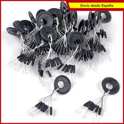 5 packs 6 topes (30 ud.) stoppers goma bajos pesca SS S M L negro bajo