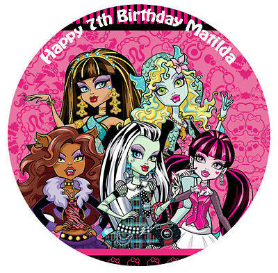1 x Monster High 19cm round personalised cake topper edible image