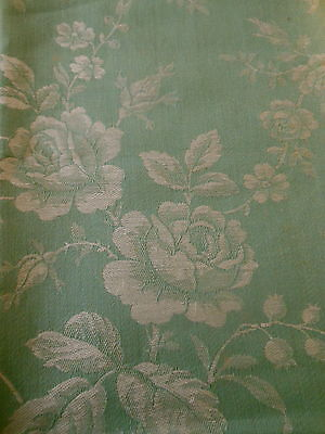 Antique French  Green Roses Garland Floral Damask Ticking Fabric ~