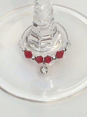 20 Red Crystal Drop Wine Glass Charms. Wedding, Favours. 04