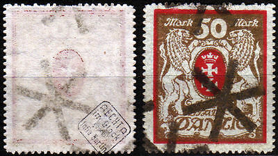 Danzig 100 Y b, O, 50 Mark Wappen lilarot/gold, gepr. Infla