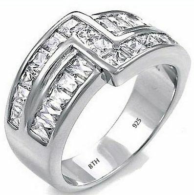 925 Sterling Silver Mens Luxury Created Diamonds Wedding Engagement Band Ring