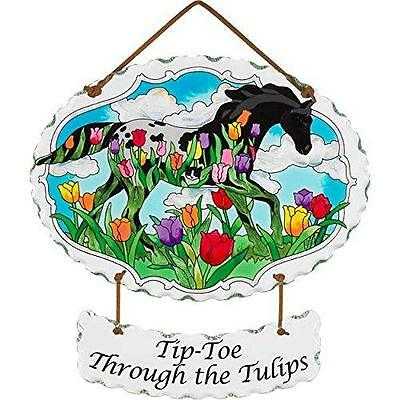 Trail Painted Ponies Tip-toe Through Tulips Joan Baker Glass Horse Suncatcher