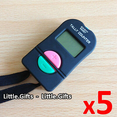 5 x Digital Hand Tally Counter Electronic Manual Clicker Sports Gym Run Security