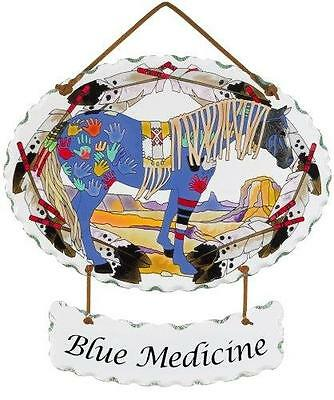 Trail Painted Ponies Blue Medicine Joan Baker Glass Horse Suncatcher
