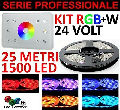 Kit 25 Metri Touch Panel Italia 1 Zona Rgb+W 1500 Led 5050 Strip Striscia Rgb