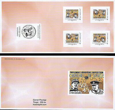 "Booklet 4 Perso stamp YELLOW ""70 year Victory DE GAULLE & CHURCHILL / WWII"" 2015"