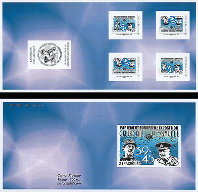 "Booklet 4 Perso stamp BLUE ""70 years Victory, DE GAULLE & CHURCHILL / WWII"" 2015"