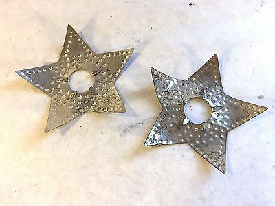2 Vtg C7 Punched Tin Metal Christmas Light Reflectors Five Pointed Star Shape