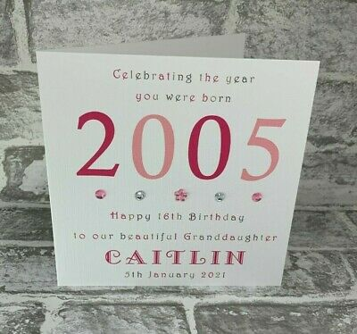 """16th Year You Were Born 2002 Birthday Card Personalised 6"""" Daughter Sister Niece"""