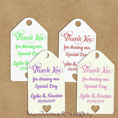 100 x Personalised Wedding Gift/Favour Vintage Luggage Tags/Labels -Thank You