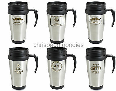 PERSONALISED Metal THERMAL Insulated TRAVEL Tea Coffee MUG Cup Flask Takeaway