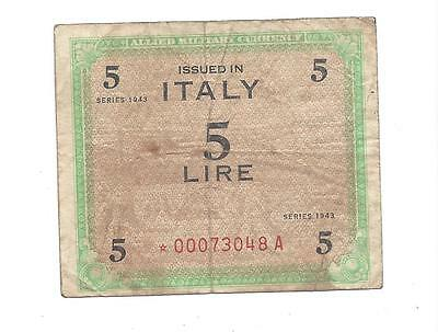 Italy AMC Series 1943 BEP REPLACEMENT Estrella 5 Lire Scarce well circulated  F