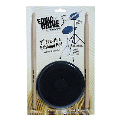 "New Sonic Drive 8"" Natural Rebound Drum Practise Pad Sticks Set for Beginner"
