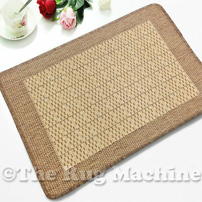 AVA BROWN BEIGE PLAIN INDOOR OUTDOOR NON-SLIP FLOOR RUG MAT 67x132cm **NEW**