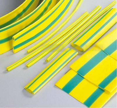 10m Yellow and Green 3.5mm ID Insulation Heat Shrink Tubing Wire Wrap
