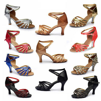 Women Girl lady's Ballroom Tango Latin Dance Dancing Shoes heeled Salsa 11Colors