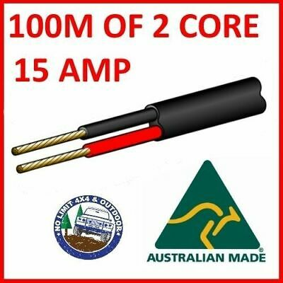 100M Of 2 Core 3Mm Wire Cable Battery Trailer Truck 12V 24V 30M Twin Metres