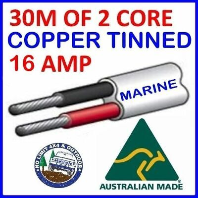 30M Of 2 Core 3Mm Wire Marine Tinned Copper Trailer Cable Boat 12V Twin Metres