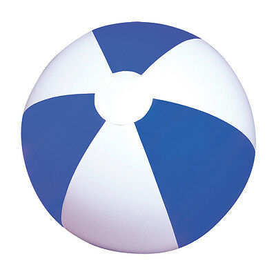 NEW INFLATABLE BLUE & WHITE BEACH BALL - SPORTS BLOW UP NOVELTY TOY 16""