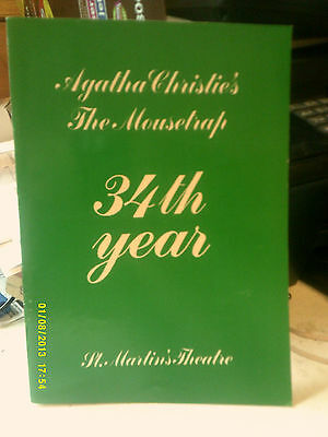 THE MOUSETRAP  AGATHA CHRISTIE  34th YEAR  ST MARTIAN'S THEATRE PlayBill