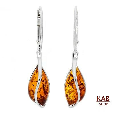 Genuine  Baltic Amber Sterling Silver 925 Drop Earrings+Gift Box.  Kab-101