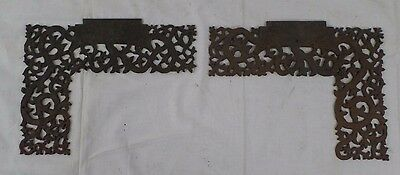 "Antique Cast Iron Decorative Ivy Corner Brackets, Cornices, Y&L 9""x11"" Pair of 2"