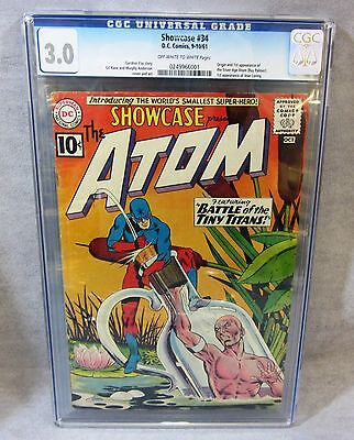 SHOWCASE #34 (Atom 1st appearance, Silver Age) CGC 3.0 GD/VG DC Comics 1961