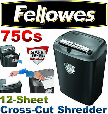 Fellowes Powershred 75Cs 12-Sheet 26.5L Cross-Cut Shredder CD Credit Card Staple