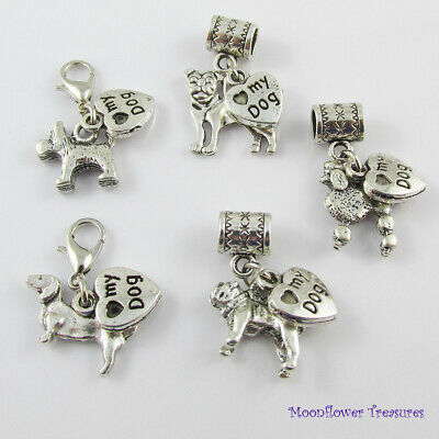 Love My Dog Charm fit Clip On Or Euro Charm Bracelet 9 Breeds to pick from !