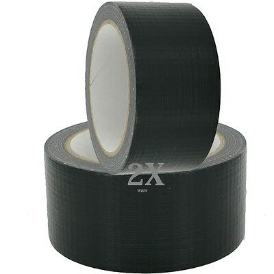 2XHEAVY DUTY BLACK Gaffa Gaffer Cloth Duck Duct Multi Tape 48mmx50m Weatherproof