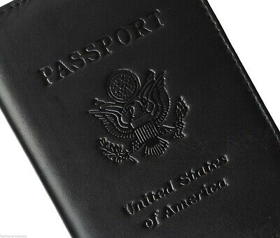 NEW BLACK Leather Embossed USA PASSPORT COVER Organizer Travel Wallet by Marshal