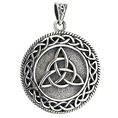 Large Sterling Silver Celtic Knot Triquetra Pendant - Pagan Wicca Irish Knotwork