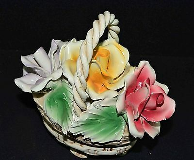 Nuova Italian Capodimonte 3 ROSE FLORAL BASKET w/TWISTED HANDLE CENTERPIECE