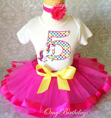 Unicorn Rainbow Horse Pink Girl 5th Fifth Birthday Tutu Outfit Shirt Set Party