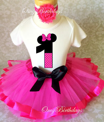 Pink Black Minnie Mouse 1st First Birthday Ribbon Tutu Outfit Shirt Set