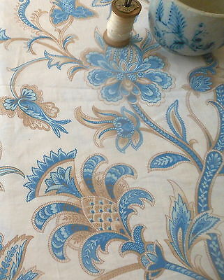 Vintage Retro French Jacobean Paisley Floral Fabric ~ Blue Brown ~Steve Laurent