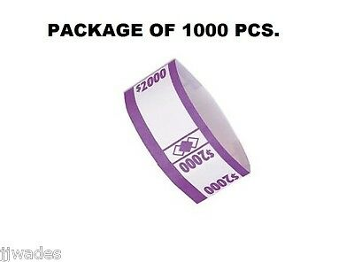 1000 Pcs. Color Coded $2000 Currency / Money Straps Bands Self Adhesive